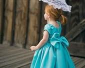 Turquoise Satin Girls Dress Flower Girl Dress Special Occasion Dress Aqua Marine Girls Dress Vintage Inspired Heirloom Dress