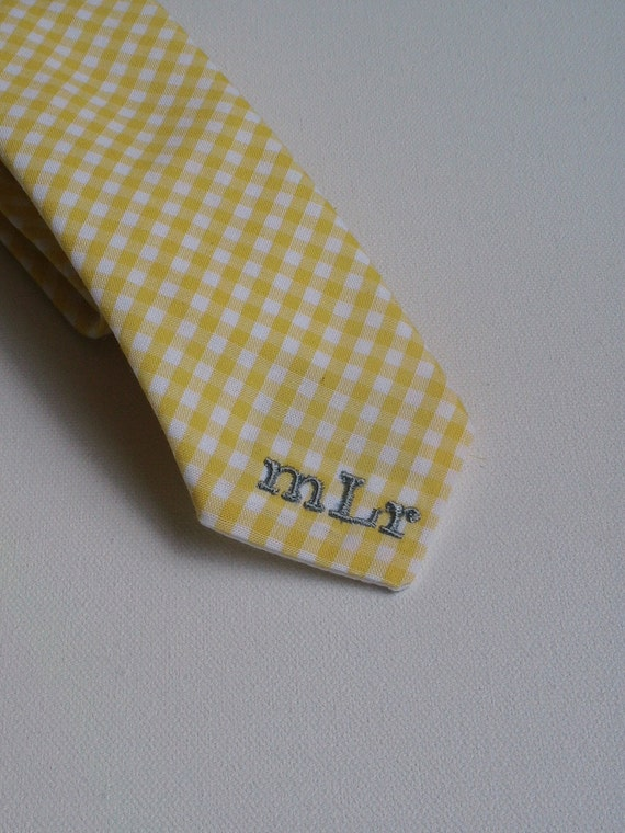 Boys and Mens 3 Initial Monogrammed Necktie Tie for Ring Bearer or Groomsmen and Special Occasion