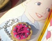 Eat Me - Alice in Wonderland Charm Necklace - Pink