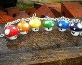 Original Geeky Rainbow Mushroom Charm Bracelet