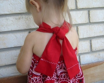 The ORIGINAL Red Bandanna Dress-- Perfect Baby Dress --Quick and Easy PDF Instructions