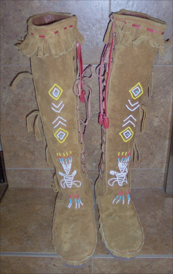 70s american indian style leather suede by agelessfinds