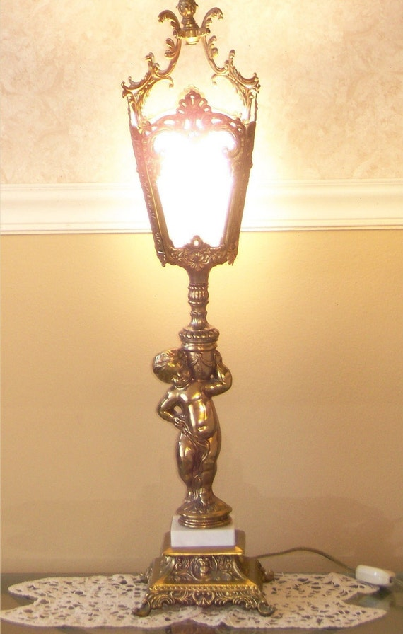 New Years Super Close Out Sale Cherub Parlor Lamp Marble Base