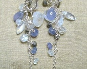 Moonstone, Pyrite and Tanzanite Sterling Silver Earrings