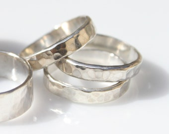 Set of 3 Faceted Sterling Silver Stacking Rings