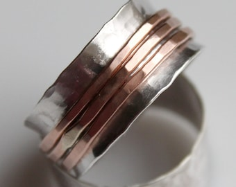 Silver and Copper Spinner Fidget Meditation Ring