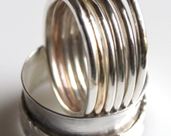 Hammered Sterling Silver & Brass Stacking Rings w Recycled Silver Ball