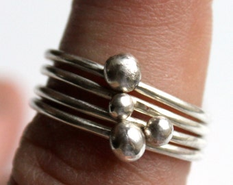 4 Silver Stacking Rings with Recycled Silver Balls