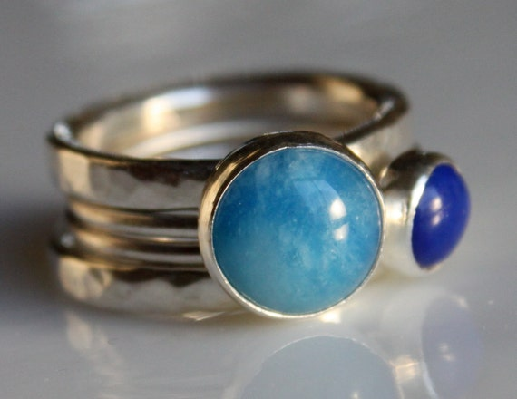 4 Silver Stacking Rings with Blue Quartz and Lapis
