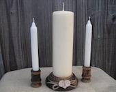 Wood Unity Candle Set Rustic Monogram Wedding Candle - Item 1021
