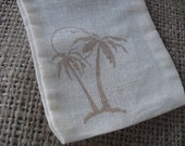 Favor Bags - SET OF 10 3x5 Tropical Palm Tree Beach Muslin Favor Bags Gift Bags or Candy Bags - Item 1283