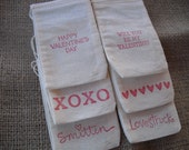 Favor Bags - SET OF 12 Valentine Muslin Favor Bags Gift Bags or Candy Bags - Item 1160