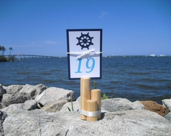 Table Number Holder - Nautical Wood Table Number Card Holders - Item 1172