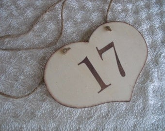 Country Wood Heart Table Number Signs with Jute Rope - Item 1093