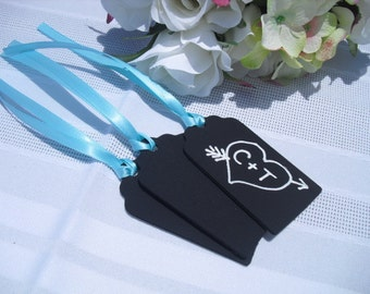 SET OF 10 Chalkboard Tags with Twine or Ribbon for Favors Gifts - Item 1105