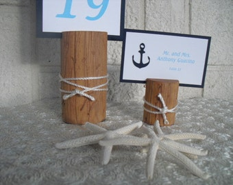 Pine Nautical Wooden Table Number Holder - Item 1221