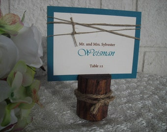 Wooden Place Card Holders - SET OF 10 Red Oak Rustic  - Item 1015