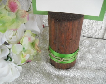 Table Number Holder -  Rustic Wood Table Number Holders with Ribbon - Item 1122