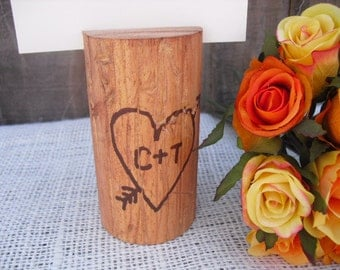 Table Number Holder - Personalized Rustic Wood Table Number Holders - Item 1106