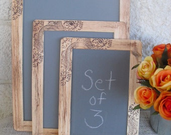 Chalkboards - SET of 3 Rustic Western Paisley Chalkboards for Signs and Table Numbers or Photo Props - Item 1142