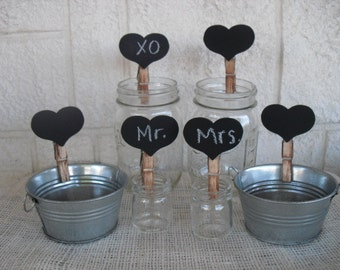 SET OF 10 Rustic Chalkboard Heart Clips, Candy Bar Signs, Escort or Place Cards - Item 1036