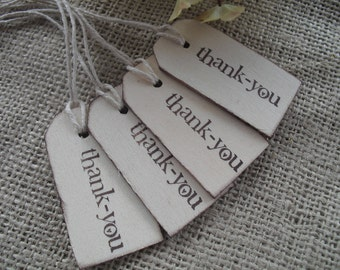 SET OF 10 Thank You Wood Favor Gift Tags or Bag Tags - Item 1263