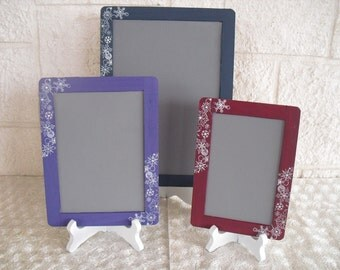 SET of 3 Winter Snowflake Chalkboards with EASELS for Signs and Table Numbers or Photo Props - Item 1334
