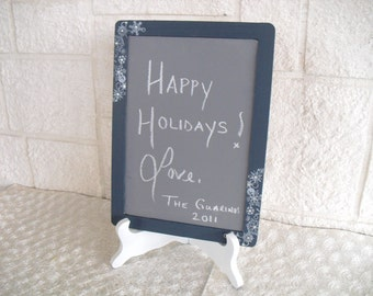 ONE LARGE Winter Snowflake Chalkboard with EASEL for Signs and Table Numbers or Photo Props - Item 1055