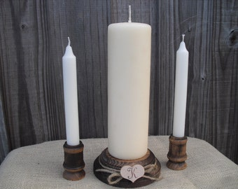 Wood Unity Candle Set Rustic Monogram Wedding Candle - Item 1021