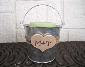 Country Heart Tin Pails Candy Container Favors or Candle Holders - Item 1112