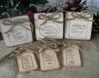 SET OF 6 Inspirational Rustic Wood Christmas Ornaments - Item 1292