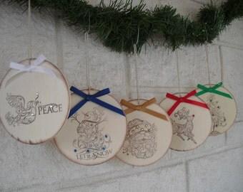 SET OF 5 Rustic Wood Christmas Ornaments - Item 1313