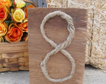 Table Number - Cedar and Rope Rustic Wood Table Numbers - Item 1143