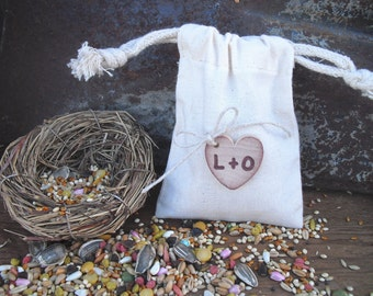 Favor Bags - SET OF 10 Rustic Personalized Initial Heart  Muslin Wedding Favor Bag Candy Buffet Bag or Gift Bag - Item 1038