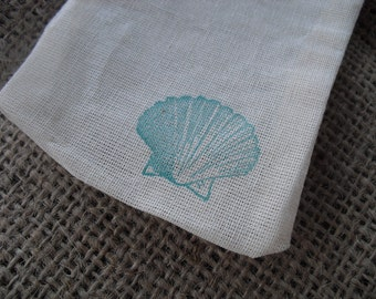 Favor Bags - SET OF 10 Beach Seashell Muslin Favor Bags Gift Bags or Candy Bags - Item 1207