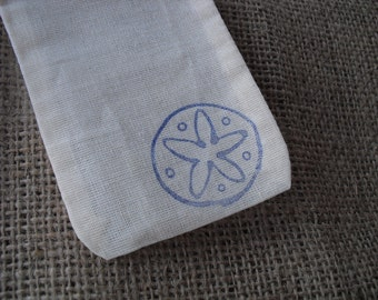 Favor Bags - SET OF 10 3x5 Beach Sanddollar Muslin Favor Bags Gift Bags or Candy Bags - Item 1251