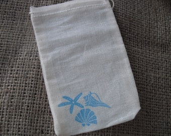 Favor Bags - SET OF 10 3x5 Starfish and Seashell Beach Muslin Favor Bags Gift Bags or Candy Bags - Item 1065