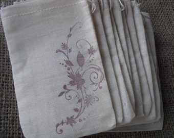 Favor Bags - SET OF 10 Fall Leaf Flourish Muslin Favor Bags Gift Bags or Candy Bags - Item 1187