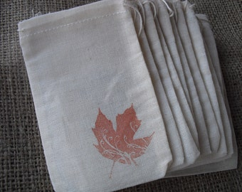 Favor Bags - SET OF 10 3x5 Fall Leaf Muslin Favor Bags Gift Bags or Candy Bags - Item 1233