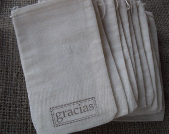Favor Bags - SET OF 10 3x5 Gracias Muslin Favor Bags Gift Bags or Candy Bags - Item 1323