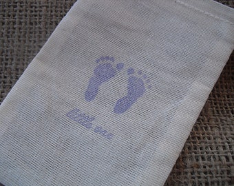 Favor Bags - SET OF 10 3x5 Baby Footprints Baby Shower Muslin Favor Bags Gift Bags or Candy Bags - Item 1280
