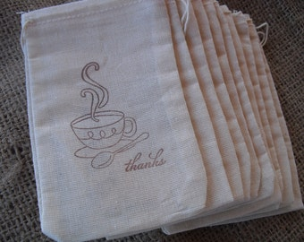 Favor Bags - SET OF 10 Tea Cup Thank You Muslin Favor Bags Gift Bags or Candy Bags - Item 1216