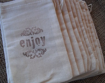 Favor Bags - SET OF 10 3x5 Enjoy Vintage Style Muslin Favor Bags Gift Bags or Candy Bags - Item 1248