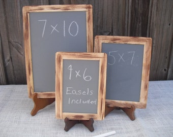SET OF 3 Rustic Distressed Chalkboards for with EASELS for Signs and Table Numbers or Photo Props - Item 1332