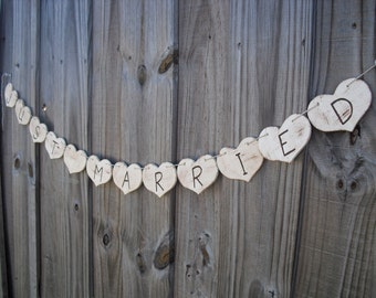 Just Married Wedding Photo Prop Wood Heart Banner - Item 1267