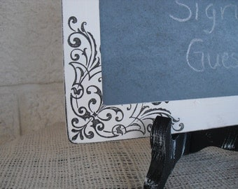Chalkboard with Easel - ONE LARGE Shabby Chic Damask Chalkboard with EASEL for Signs and Table Numbers or Photo Props - Item 1150
