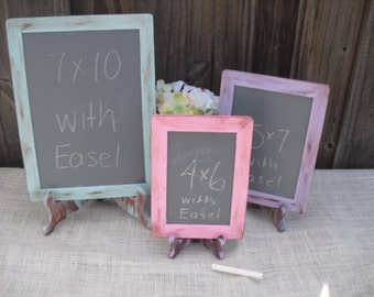 SET of 3 Shabby Chic Rustic Distressed Chalkboards with EASELS for Signs and Table Numbers or Photo Props (You Pick Color) - Item 1171