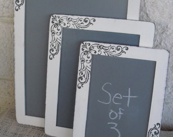 Chalkboards  SET OF 3 Shabby Chic Damask Chalkboards for Signs and Table Numbers or Photo Props - Item 1265
