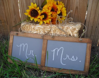 SET OF 2 Barnwood Style Hanging Chalkboard Signs for Chairs Photo Props - Item 1250
