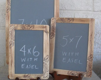 Chalkboards - SET of 3 Rustic Western Paisley Chalkboards with EASELS for Signs and Table Numbers or Photo Props - Item 1219